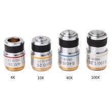 4X 10X 40X 100X ахроматический объектив для биологического микроскопа 185
