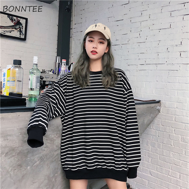 Hoodies Women Elastic Cuff Hem O-Neck Striped Loose Retro Chic Korean Style Harajuku Soft Trendy Sweatshirts Womens All-match