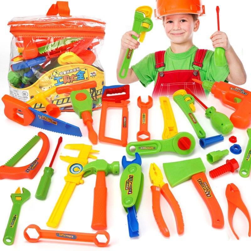 34PCS/Set Garden Tool Toys For Children Repair Tools Pretend Play Environmental Plastic Engineering Maintenance Tool Toys Gifts
