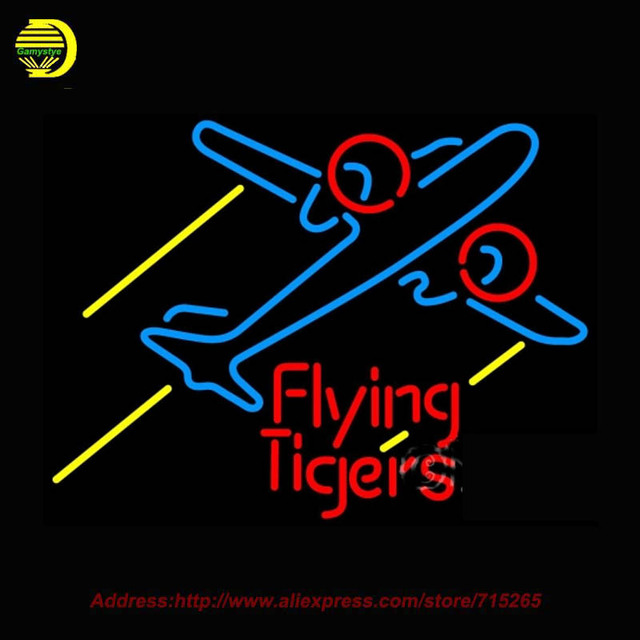 neon sign flying tigers airplane glass tube handcrafted design recreation room iconic neon signs for bar