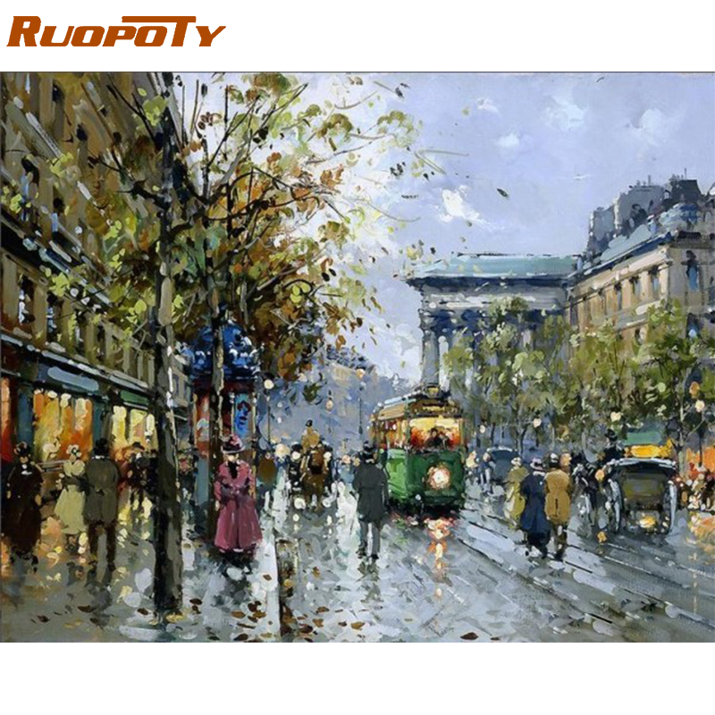RUOPOTY Street Scene Lukisan Minyak Abstrak Dengan Nombor Diy Wall Art Picture Hand Painted Home Decor For Living Room Gift Unique