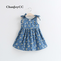 HOT Sale Children Girls Clothing Summer New Fashion Printing Flowers Dress Casual Dress Cotton 100