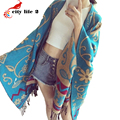Winter Scarf Thick Wool Pashmina Bohemia National Style Cashmere Cape Female Autumn Cloak Floral Print Shawls And Scarves
