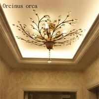 Modern Nordic K9 Crystal LED Ceiling Lights Fixture Gold Black Home Lamps for Living Room Bedroom Kitchen Bathroom
