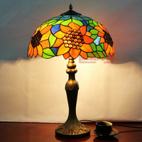 tiffany Multicolour Glass Table lamp sunflower Bed lighting Living Room Coffee Study Lamp Rustic Dia 40*h62cm