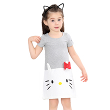 2019 Summer Cute Girls Dress Sweet Cat Animal Print Cartoon Girl Cotton Grey Color Kids Children Short Sleeve Dresses