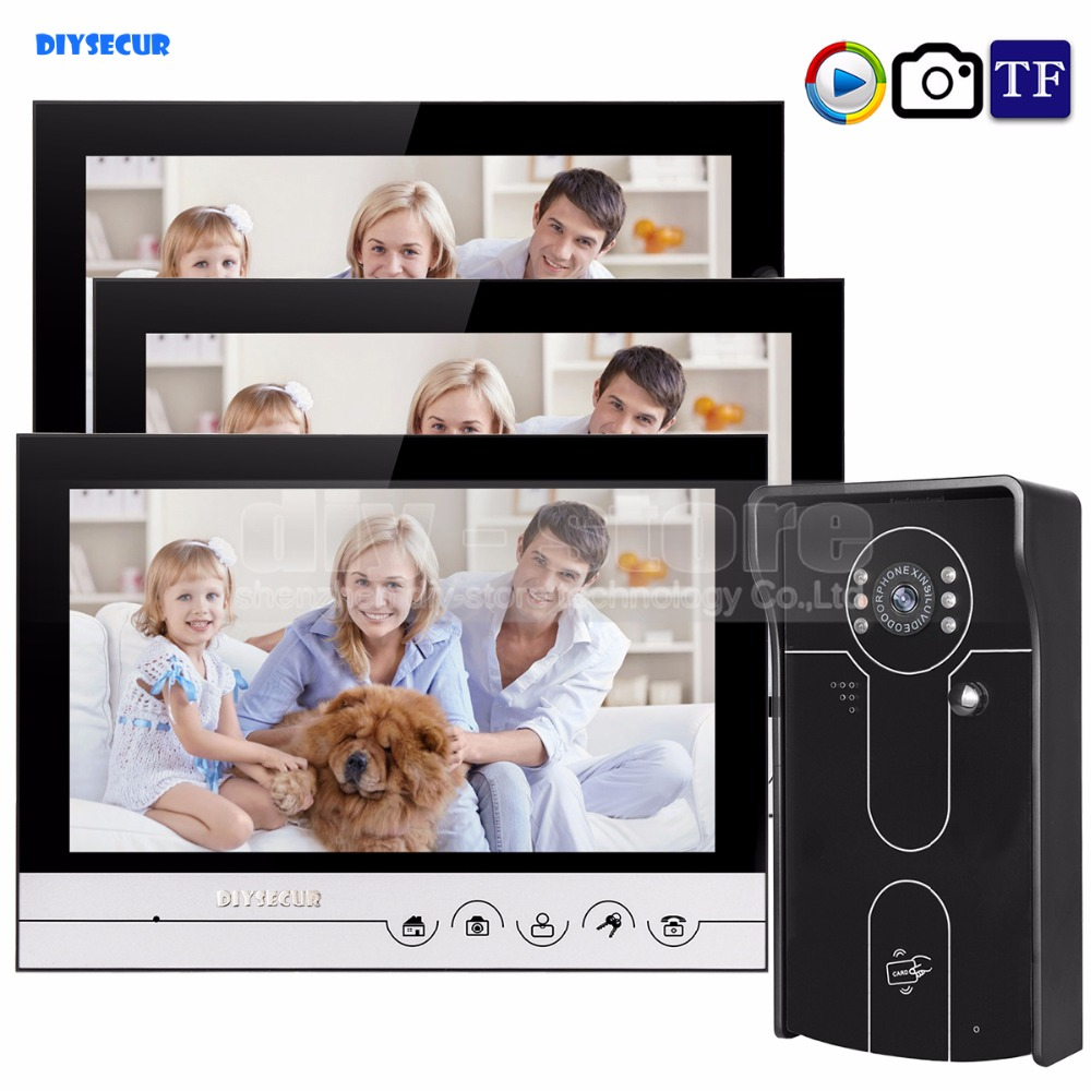 DIYSECUR 9inch Video Record/Photograph Video Door Phone Doorbell Waterproof HD RFID Camera Home Security Intercom System 1V3 diysecur 9inch video record photograph video door phone doorbell waterproof hd rfid camera home security intercom system 2v4
