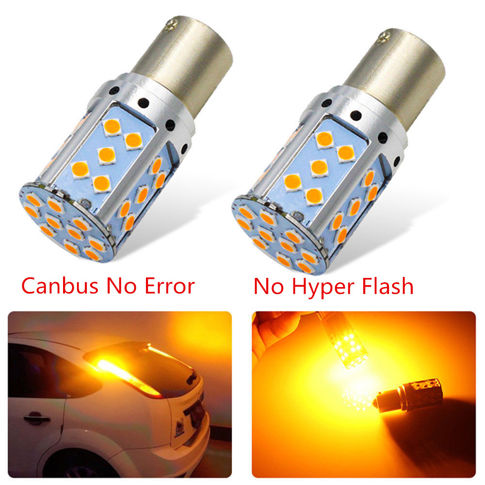 T20 7440 W21W LED Bulb 3030 35SMD Canbus 1156 BAU15S PY21W BA15S P21W LED Lamp For Car Turn Signal Lights Amber Lighting 12V 24V apmatauto 4x amber yellow canbus 45w for cree chips led 1156 bau15s 7507 py21w p21w led bulbs for front turn signal lights