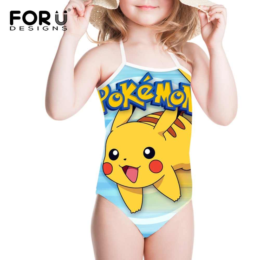 a5b0f7a17bd FORUDESIGNS Pokemon Pikachu Printed Swimwear for Girls One-piece Suits  Children Swimsuit Japanese Anime Kids