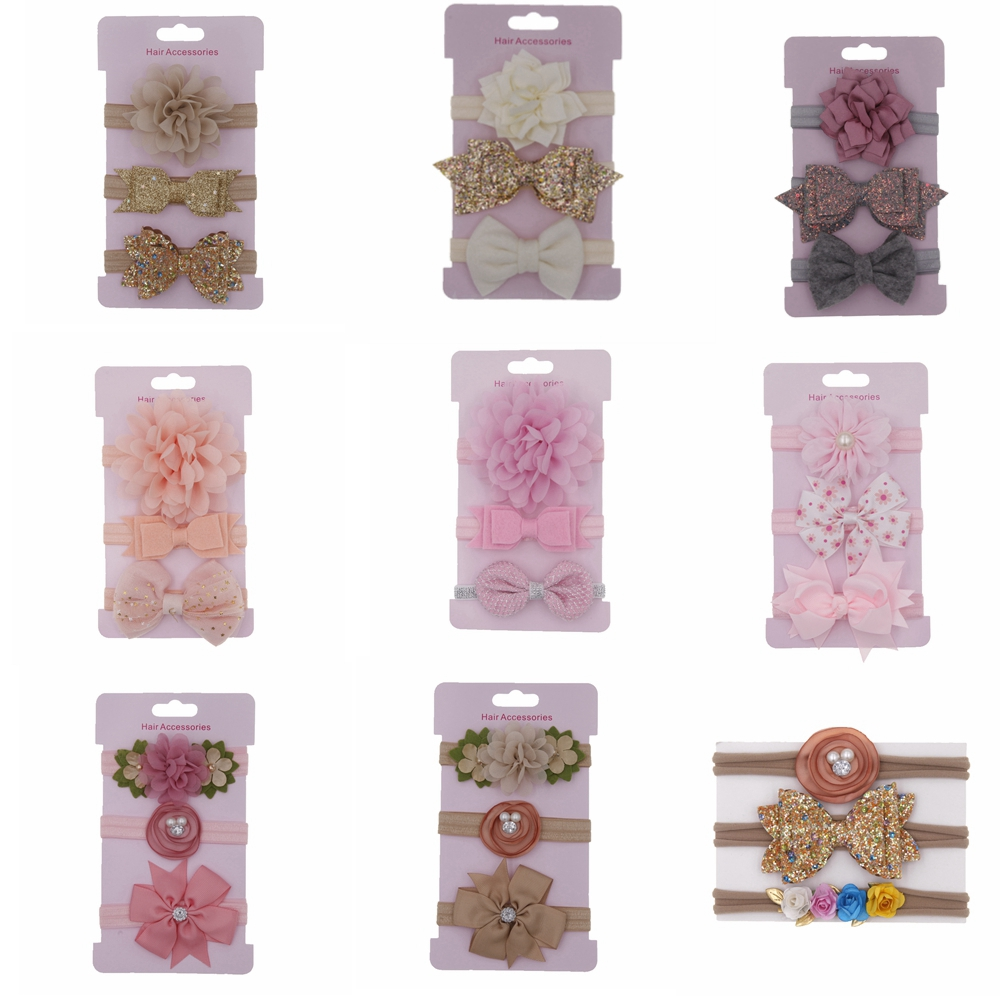 2019 baby girls headband flowers Bowknot children cute hairband Set Card hair Accessories   headwear   3pcs/set