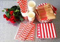 12 People Striped Party Tableware Set Disposable Paper Plate Cups Straws Napkins Cutlery Set Wedding Decor