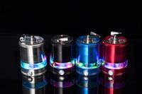 1 St Elektrische Licht LED 63 MM Aluminium Metalen Grinder Crusher Spice Mill Cracker Waterpijp Roken Accessoires Tabak Grinder