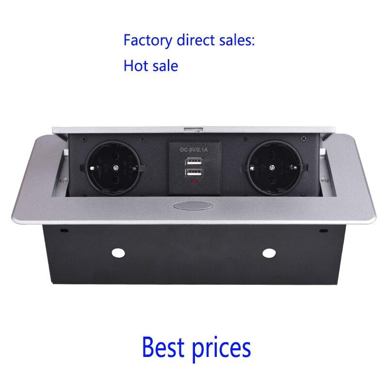 Offre Spéciale Pop-up socket/Standard de L'UE prise De Table/caché/Amortissement ouvert/salle de conférence de Bureau USB de charge prise de bureau