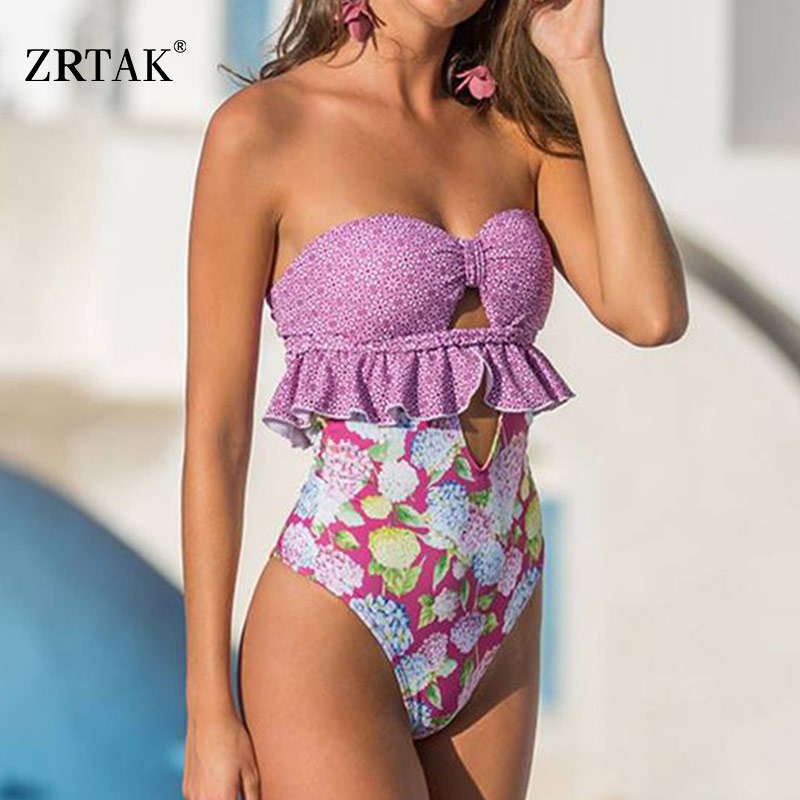 Zrtak 2019 Sexy Bandage One Piece Swimsuit Floral Backless Swimwear Women Hollow Out biquini Mujer Bathing Suit One-Piece SuitsZrtak 2019 Sexy Bandage One Piece Swimsuit Floral Backless Swimwear Women Hollow Out biquini Mujer Bathing Suit One-Piece Suits