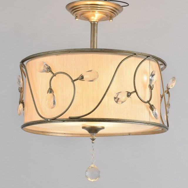 Moderne Tambour Ombre Lustre En Cristal Lustre Tissu Plafonnier
