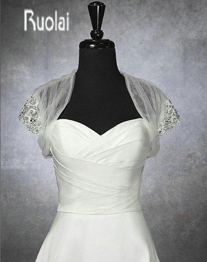 New Arrival Custom Made Short Sleeve Handmade Beads  Crystals Wedding Jacket Wedding Wrap Bridal Wrap(7002)