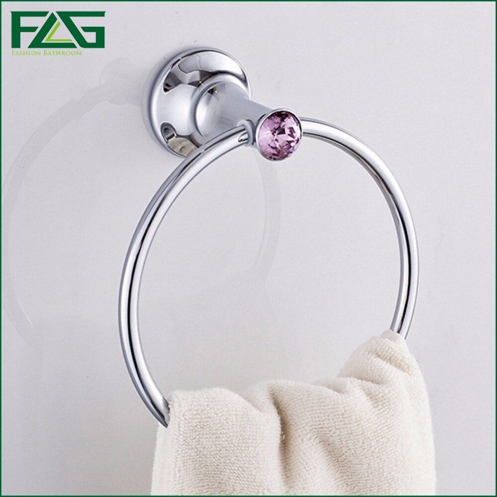 ФОТО FLG Bathroom Accessories Wall mounted Chrome&Crystal Copper Towel Holder Bar Towel Rack Hanger Durable Towel Rings 88460