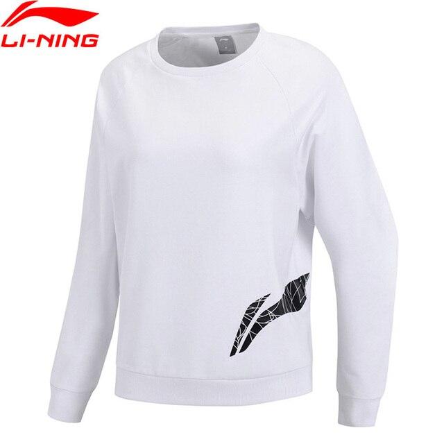 Li-Ning Women Training Series Sweater Loose Fit 70% Cotton 25% Polyester 5% Spandex LiNing Sports Hoodie Tops AWDP118 WWW1025
