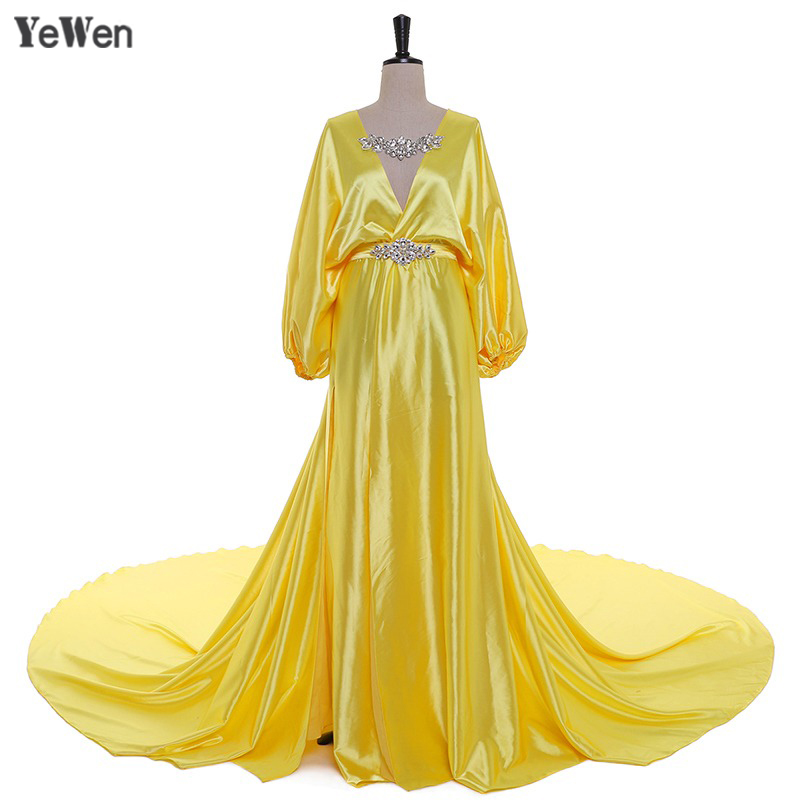 1M Train Sexy   Evening     Dress   V Neck Silk Satin Crystal Yellow Blue Party   Evening     Dresses   2019 YeWen Prom   Dresses   Plus Size