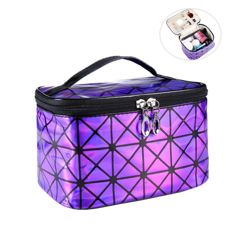 Fashion Ladies Multi-color PU Leather Cosmetic Bag Essential Travel Cosmetics Organizer Zipper Lattice With Mirror Cosmetic Bag