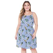 WHZHM Strap Plus Size 3XL 4XL Sexy Dress Women Pineapple Printed Beach Loose Casual Big Size Bohemian Summer Mini Dress Femme