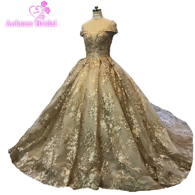 2018 Золотое кружевное платье с длинными рукавами, длина до пола, свадебные платья, бальное платье принцессы с открытой спиной, свадебные платья для невесты