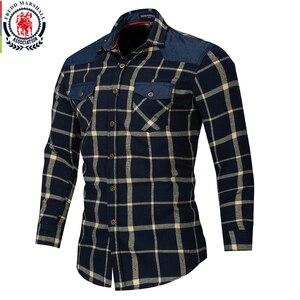 Image 3 - Fredd Marshall 2018 jesień podwójna w całości zapinana na guziki kieszenie koszula w kratę z długim rękawem casualowa łatka koszule męskie regularny krój Plus rozmiar 172