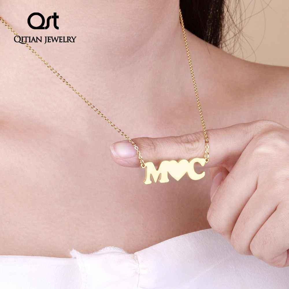 Customize Two-letter  Name Necklace   Personalized  Gold Silver  Nameplate Necklaces For Women Statement Stainless Steel Jewelry