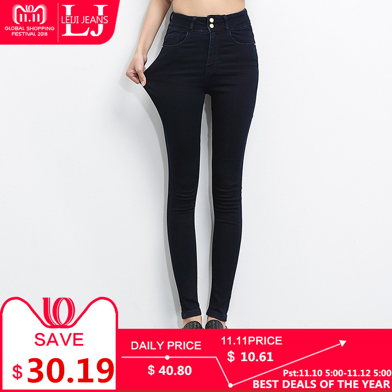 3e40b836f879 LEIJIJEANS 2018 Plus Size jeans women Black jeans High Waist Denim ...