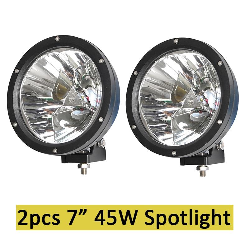 7 inch 45 w a mené la lampe de travail de projecteur de conduite de tache ronde de lumières de canon avec le faisceau focalisé pour SUV 4WD outre du camion de route SUV ATV Offroad