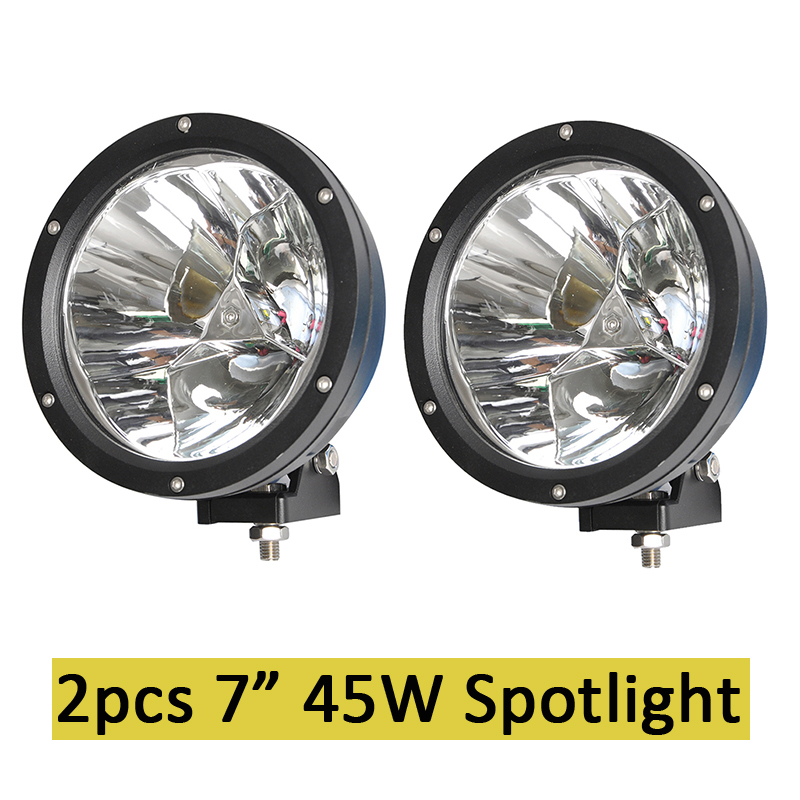 7inch 45w Led Cannon Lights Round Spot Driving Spotlight Work Lamp with Focused Beam for SUV 4WD Off Road Truck SUV ATV Offroad
