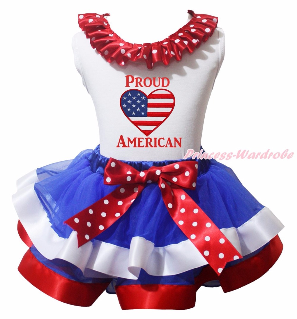 ФОТО I'm Your Fathers Day Gift 4th July Born In the USA Star Proud American Flag Heart White Top BWR Satin Trim Skirt Girls Set NB-8Y