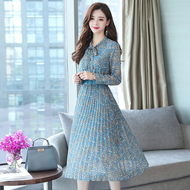 2019 Autumn Winter Vintage Chiffon Floral Midi Dress Plus Size Maxi Boho Dresses Elegant Women Party Long Sleeve Dress Vestidos 5
