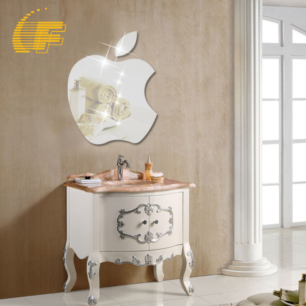 Modern Apple Shape DIY 3D Acrylic Mirror Surface Wall Sticker Home Office  Decoration Craft Silver TV Wall Decor Decal  48. Apple Office Furniture Reviews   Online Shopping Apple Office