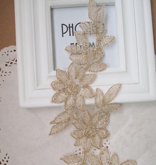 Gold Applique 5 ks / Lot Gold Tvar květů Venise Lace Applique Trims Embroidery Craft
