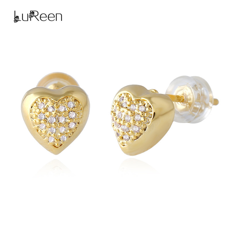 LuReen Luxury Micro Paved Zircon Cz Rhinestone Heart Stud Earrings Gold Screwback Earring For Women Men Fashion Jewelry LE0221