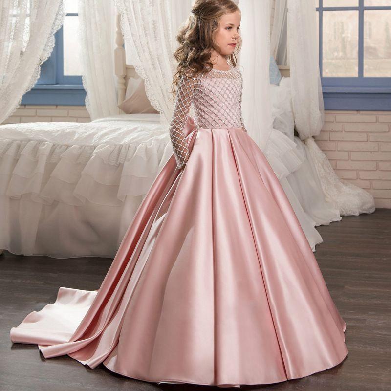 Long Sleeves Pink Elegant   Flower     Girl     Dresses   2019 for Weddings Princess Lace Appliques Floor Length Kids Prom   Dress