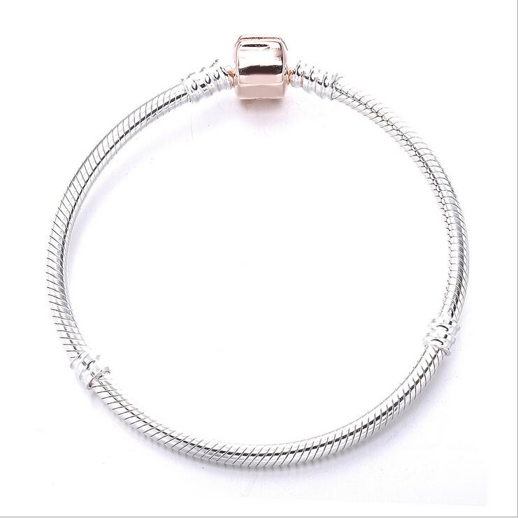 New 925 sterling silver Snake chain Classic letter rose gold buckle Bracelets Fits  European style charms female jewelry gift
