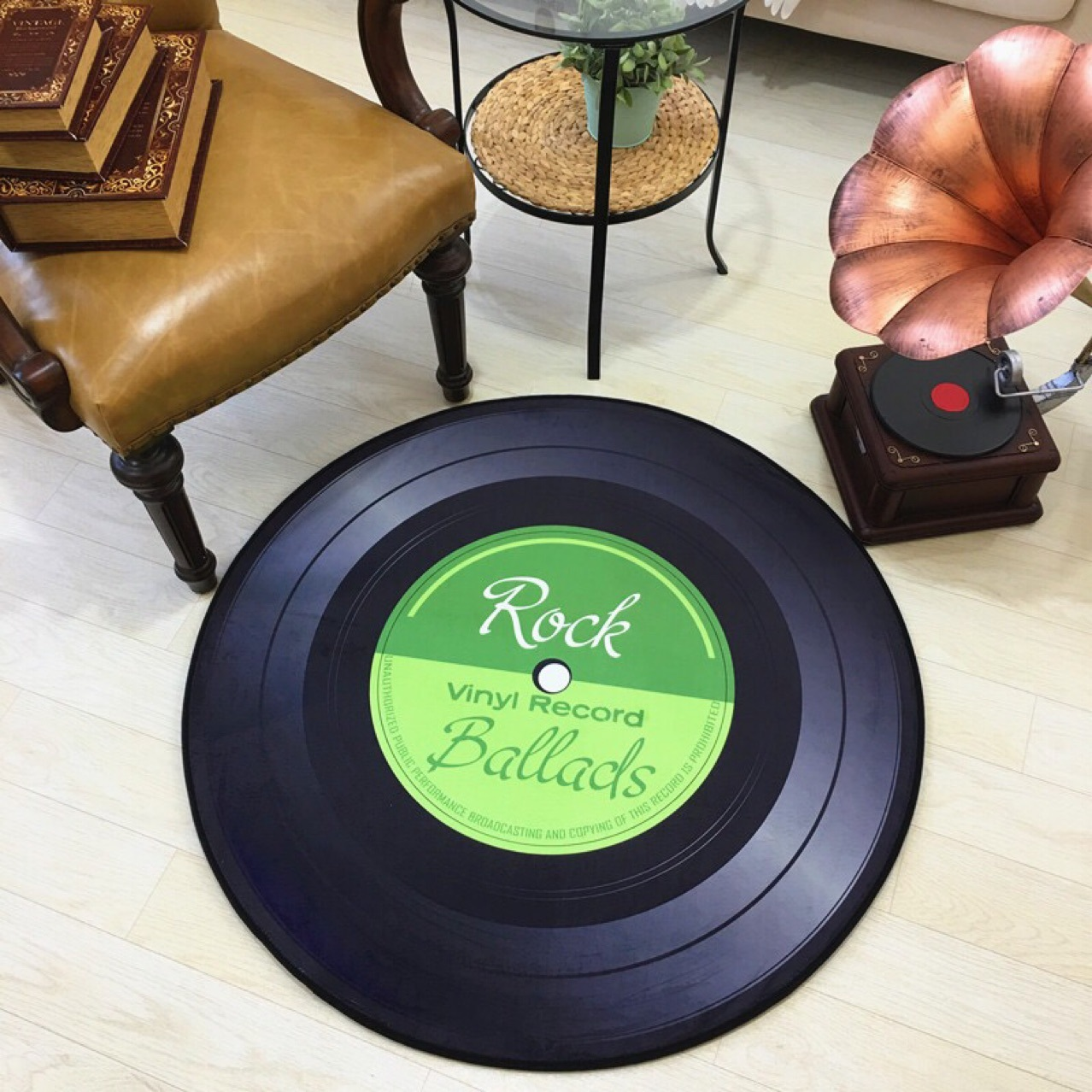 Round Carpet 3D Vinyl Record Printed Carpets for Living Room Anti-slip Rug Computer Chair Floor Mat for Home Decor Kids Room
