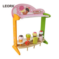 Wooden Ice Cream Shop Pretended Play Ice Cream Stand Set for Children Kids