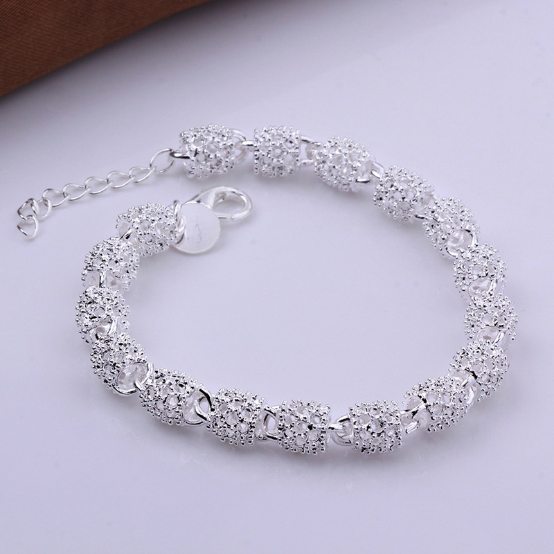 New Silver color Jewelry Hollow Out Bead Bracelet 4
