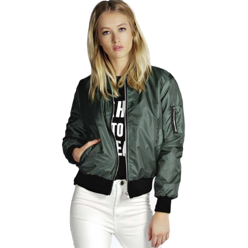 2018 Spring Autumn Women Thin   Jackets   Tops Ma1   Basic   Bomber   Jacket   Long Sleeve Coat Casual Stand Collar Slim Fit Outerwear