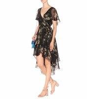 Для женщин роскошный черный Птица Цветочный Разноцветные Шелковые Смесь Асимметричная клены Обёрточная бумага платье само Галстуки оборк