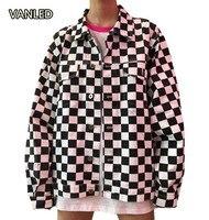 Harajuku Plaid Women's Jacket Loose Single Breasted Casual Thin Jackets
