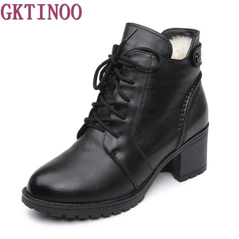 GKTINOO/удобные мягкие зимние сапоги из натуральной кожи, 2018 Модные женские ботильоны, повседневная обувь на высоком каблуке, женские зимние са...