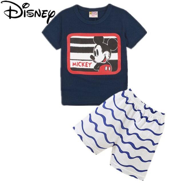 cd5f663278f82 Disney garçons filles enfants vêtements définit été marque casual garçons  plaid manches courtes T-shirt