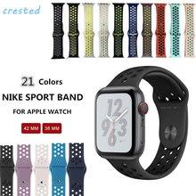 Cores Esporte banda de silicone Para apple watch 4 21/3/2/1 iwatch 42 (44) /38 (40) mm pulseira wrist strap Com adaptador de Borracha esporte