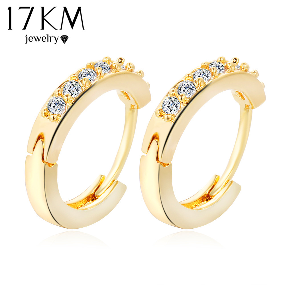 17KM Charm Circle Zircon Earrings Shinny Fashion Jewelry Wedding Christmas Gift Crystal Round Stud Earrings For Women bijoux