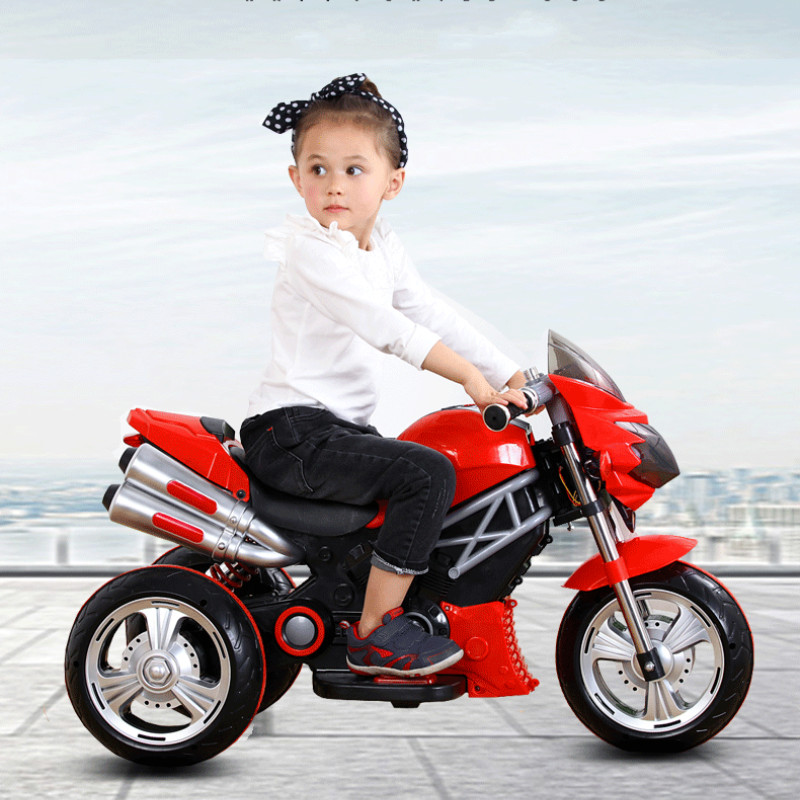 Cool child large electric car motorcycle kids charging tricycle baby toy car cycle electric moped in Electromobile from Automobiles Motorcycles