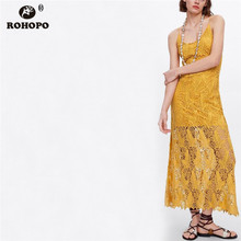 ROHOPO Women Spaghetti Strap Lace Midi Dress Summer Hollow Out Sexy Party Yellow Sexy Dresses Women Bodycon vestido #LT2032 sexy spaghetti strap high slit women s hollow out dress